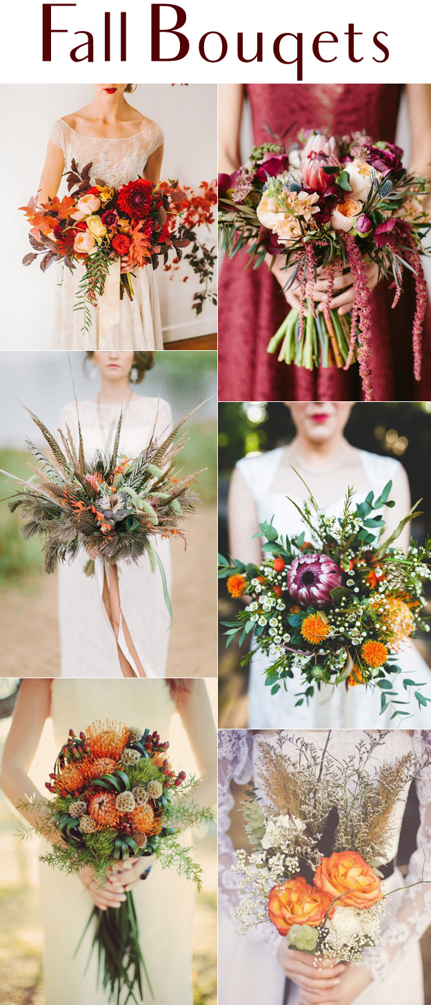 6 Festive Wedding Bouquets for the Autumn Bride |  Lucky in Love Blog