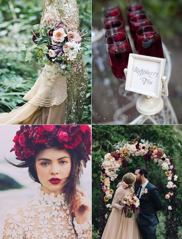 raspberry and green wedding