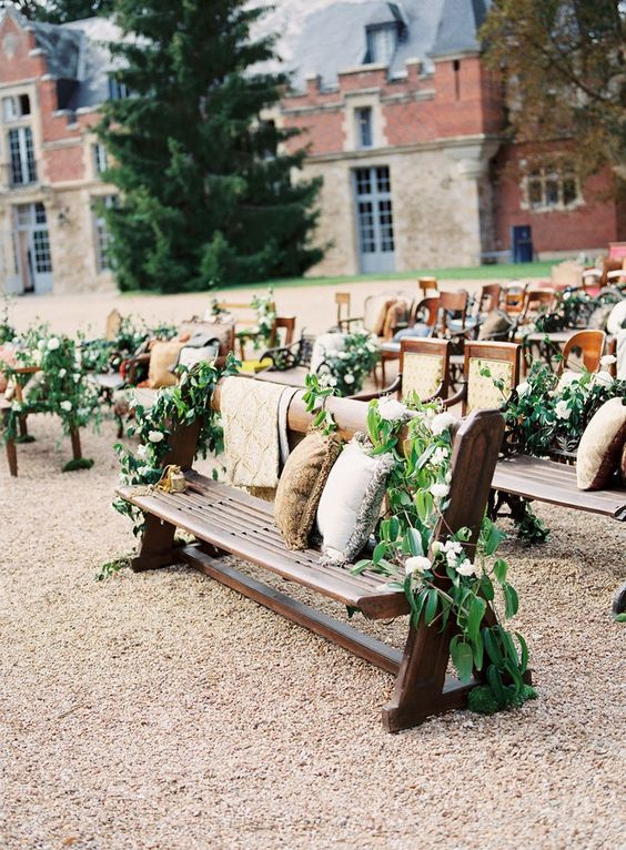 Ceremony Seating Ideas from B&E Lucky in Love Wedding Blog