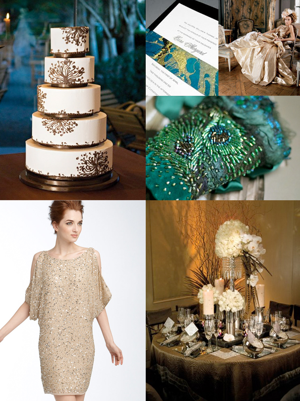 teal and gold wedding