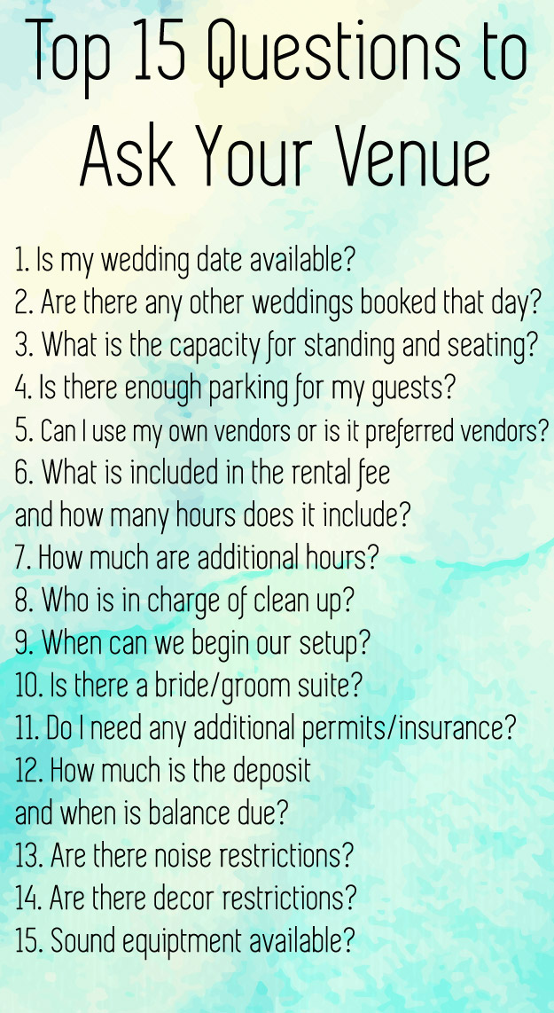 15 Critical Questions to Ask A Potential Wedding Venue Graphic | Lucky in Love Blog