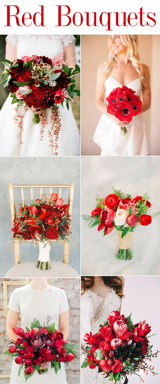 Red Wedding Bouquet Inspiration from B&E Lucky in Love Wedding Blog