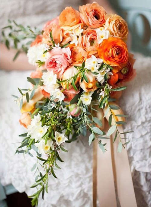 Orange Bridal Bouquets | B&E Lucky in Love Blog