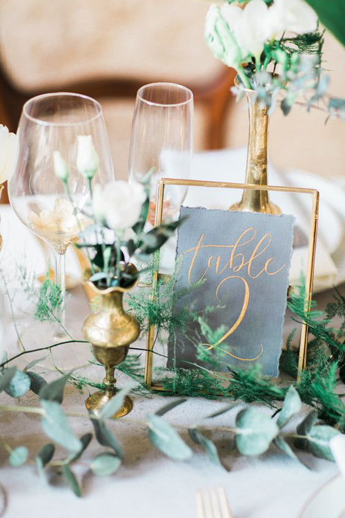 Modern Style, Green White and Gold Wedding Inpsiration | B&E Lucky in Love Blog
