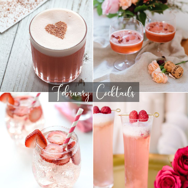 1. Valentine's Day Cocktail via  Honestly Yum   2. The French Kiss via  The Glitter Guide   3. Strawberry Chantilly Cocktail via  Katrina's Kitchen   4. Raspberry Rose Cocktail via  Camille Styles