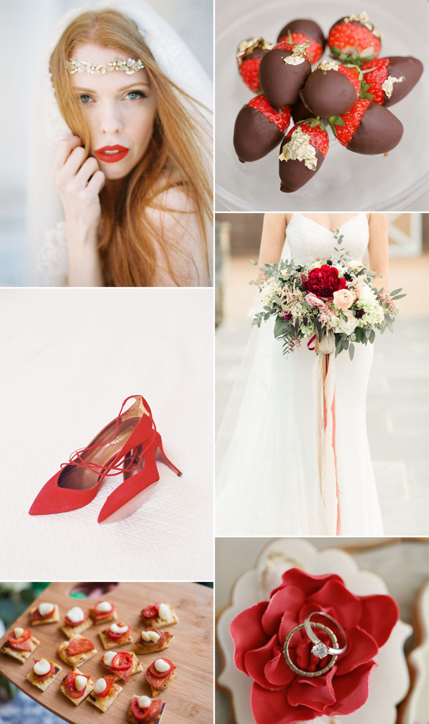 {Image Sources: Bride featured on  Style Me Pretty  - photo by  Your Dream Photo ; Chocolate covered strawberries featured on  Style Me Pretty  - photo by  Greg Finck ; Red shoes featured on  Style Me Pretty  - photo by  Tec Petaja ; Bouquet featured on  Style Me Pretty  - photo by  Meredith Sledge ; Appetizers featured on  Style Me Pretty ; Ring featured on  Style Me Pretty }