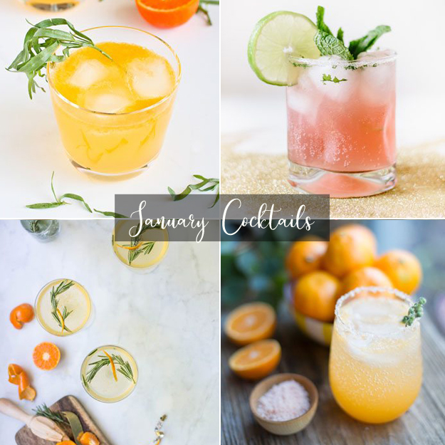 Clementine & Lemon Gin cocktail via  Cookin Canuck   Blood Orange Mojito via  The Sweetest Occasion   Rosemary Clementine Prosecco cocktail via  West Elm   Sunny Winter Cocktail via  The Sweetest Occasion