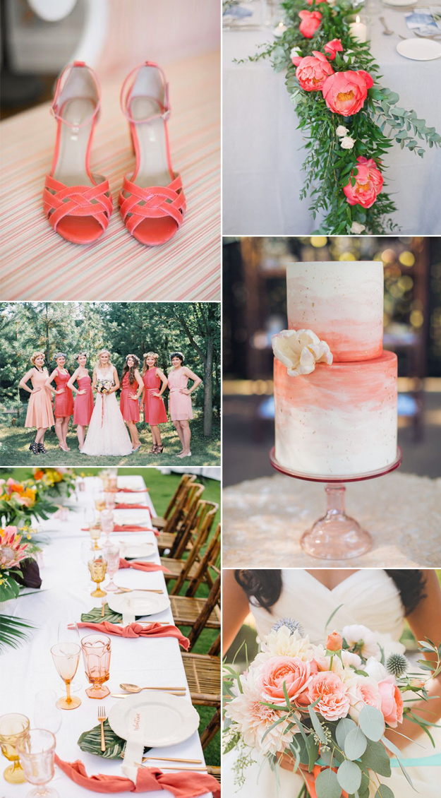 {Image Sources: Coral heels featured on  Intimate Weddings ; Coral floral arrangement featured on  Style Me Pretty  - photo by  Greg Finck ; Bride and bridesmaids featured on  Style Me Pretty  - photo by  Lena Kozhina ; Wedding cake featured on  Style Me Pretty  - photo by  Clane Gessel ; Coral table setting featured on  Ruffled Blog  - photo by Krista Mason; Coral bouquet featured on  100 Layer Cake - photo by  Edyta Szyszlo }