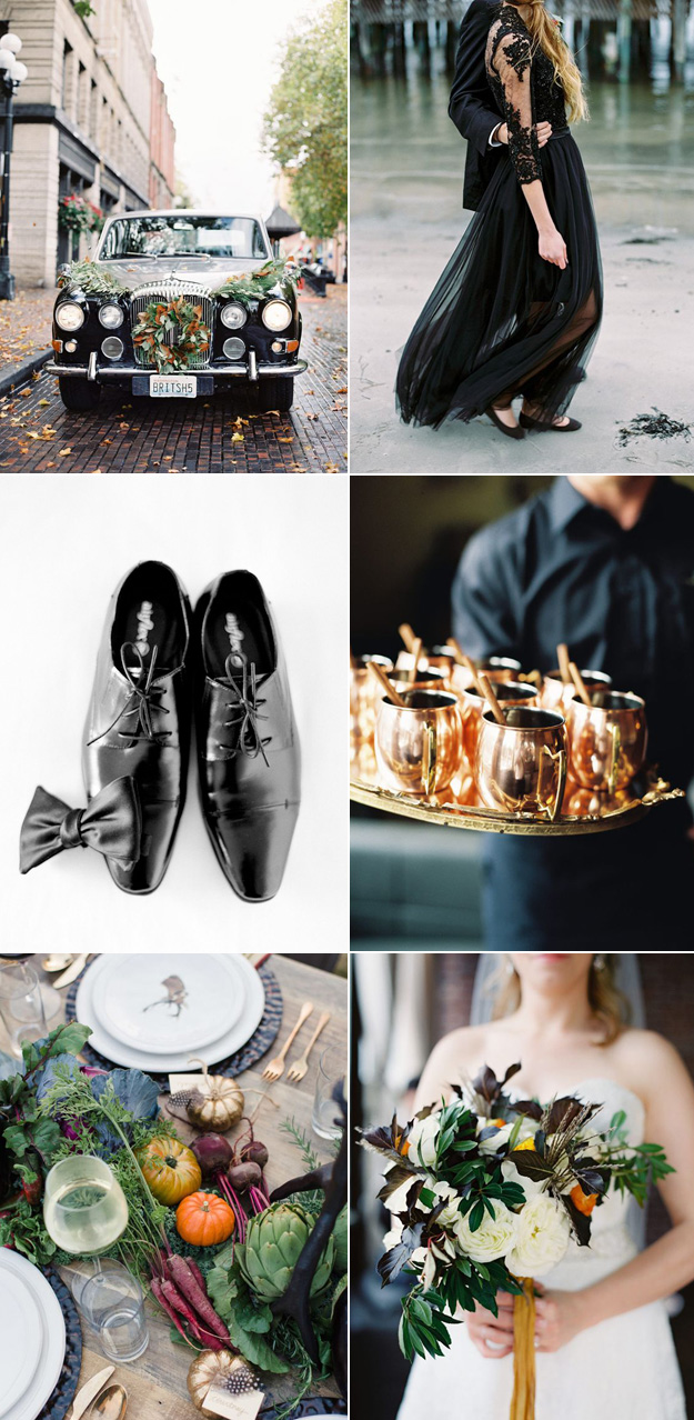 {Image Sources: Black car featured on  Style Me Pretty  - photo by  O'Malley Photographers ; Black gown featured on  Style Me Pretty  - photo by  2 Brides Photography ; Black shoes featured on  Style Me Pretty  - photo by  Jose Villa Photography ; Moscow Mule drinks featured on  Style Me Pretty  - photo by  O'Malley Photographers ; Fall table setting featured on  Style Me Pretty  - photo by  Jeremiah and Rachel Photography ; Fall bouquet featured on  Style Me Pretty  - photo by  O'Malley Photographers }