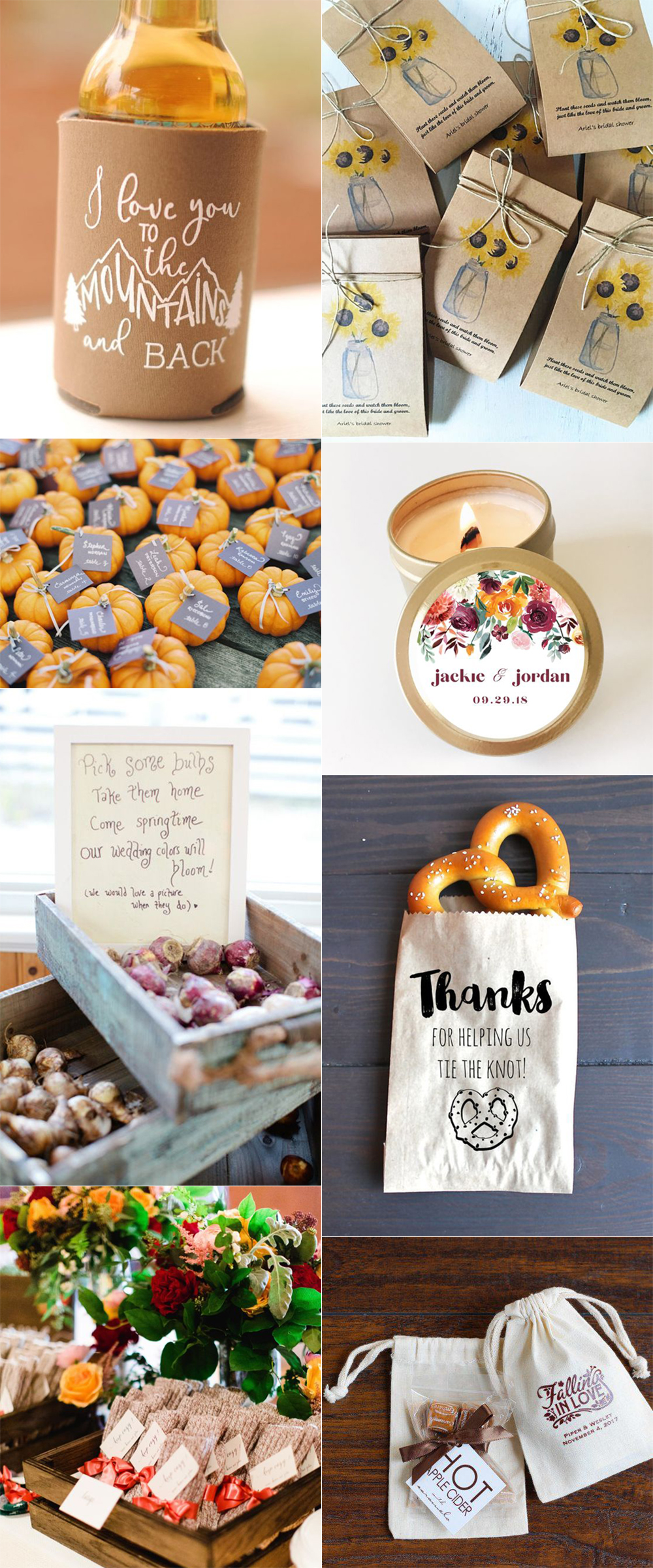 {Image Sources: Beverage Cozy from  You're That Girl Designs ; Sunflower seed flowers from  Seed and Story ; Mini pumpkins featured on  Martha Stewart Weddings ; Candle from  North 29 Candle Co ; Bulbs featured on  Style Me Pretty  - photo by  Erin McGinn ; Pretzel featured on  Crazy for Us ; Socks featured on  Martha Stewart Weddings ; Hot cocoa from  Beau Coup }