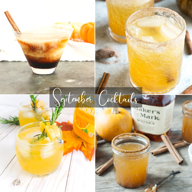1. Pumpkin Russian from  Lively Table   2. Bourbon Pumpkin Smash from  Cake N Knife   3. Autumn Bourbon Smash from  Elle Talk   4. Pumpkin Spice Whiskey from  Dishing Up The Dirt