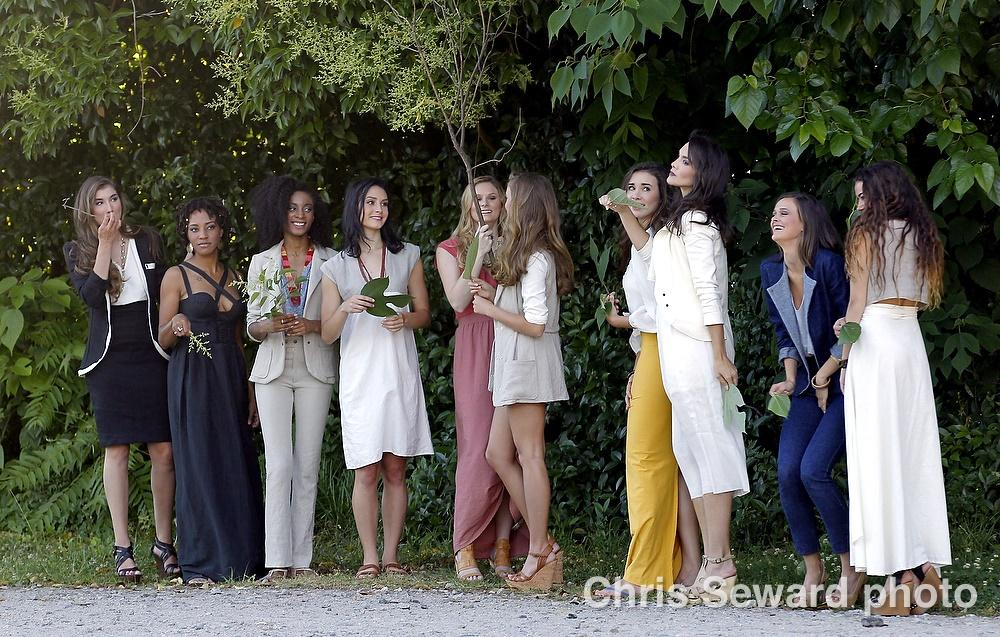 Models pose in clothes designed by Pretty Birdie Co., another company featured in the Redress Raleigh 2015 Fashion Show. This Greensboro-based brand produces high-end women's and children's clothing using predominantly hemp textiles. Courtesy of Beth Stewart.