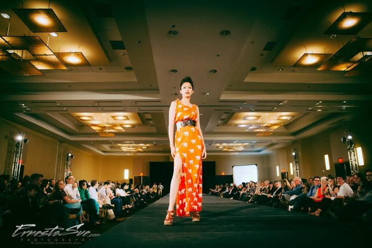 A model from last year's Redress Raleigh fashion show wears a dress by Symbology. Symbology is a fair-trade brand who works with women artisans in India and the West Bank to create gorgeous hand-printed textiles. Courtesy of Beth Stewart.