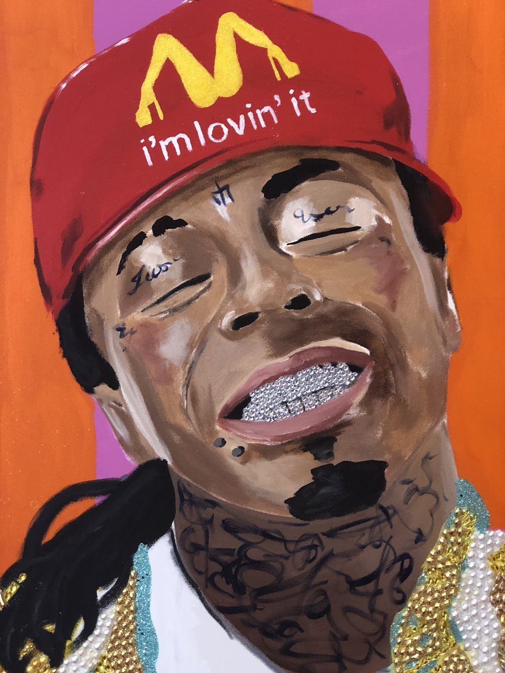 A portrait of New Orleans native and famous rapper Lil' Wayne  painted by Ashley Longshore.