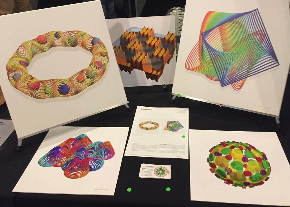dansmathart display at bridges math expo 2017, waterloo, canada