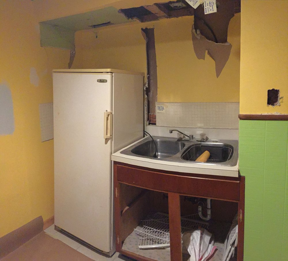 Kitchen sink, refrigerator, and paint BEFORE.