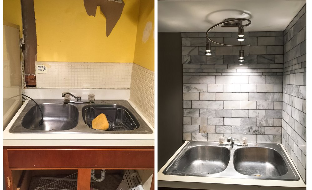 Kitchen sink BEFORE (left) and AFTER (right). New marble back splash and light fixture.
