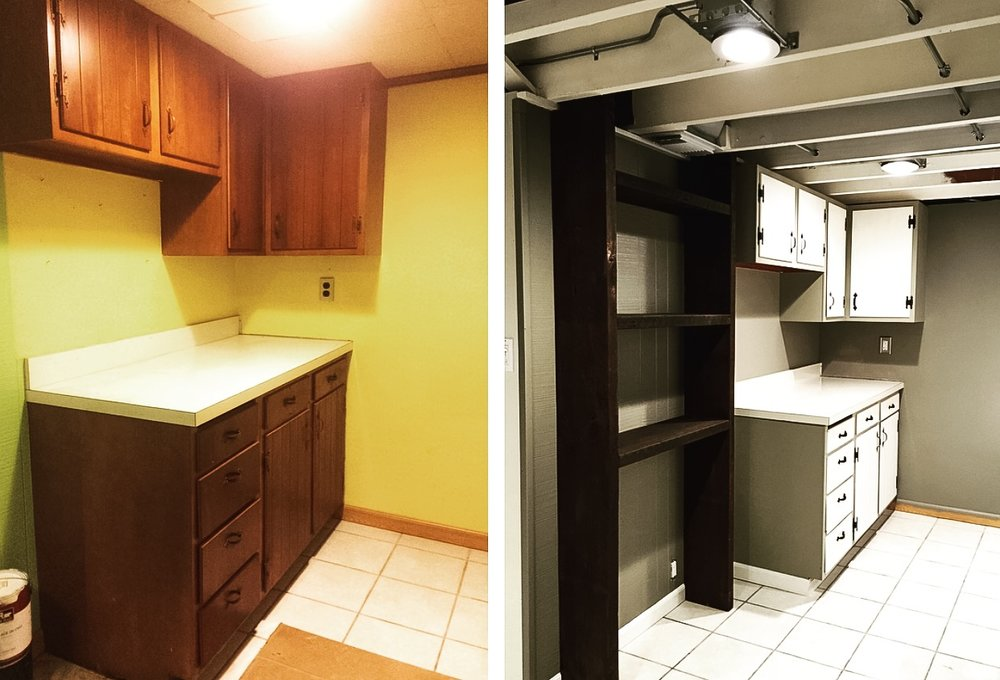 Kitchen cabinets BEFORE (left) and AFTER (right). Fresh paint as well!