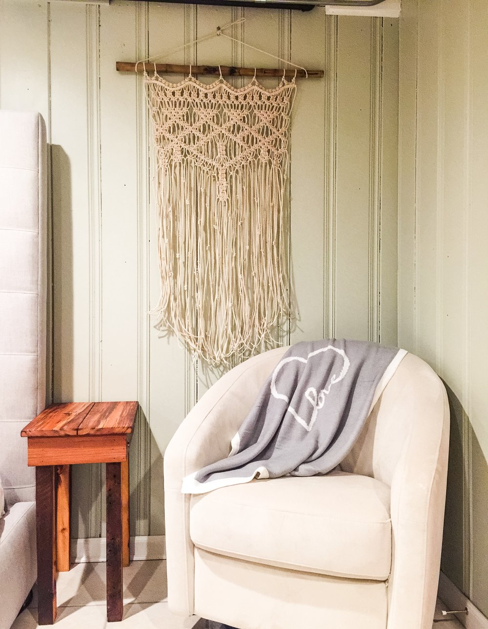 Our new family room, with our gorgeous new Macrame Wall Hanging from Monroe Artist!