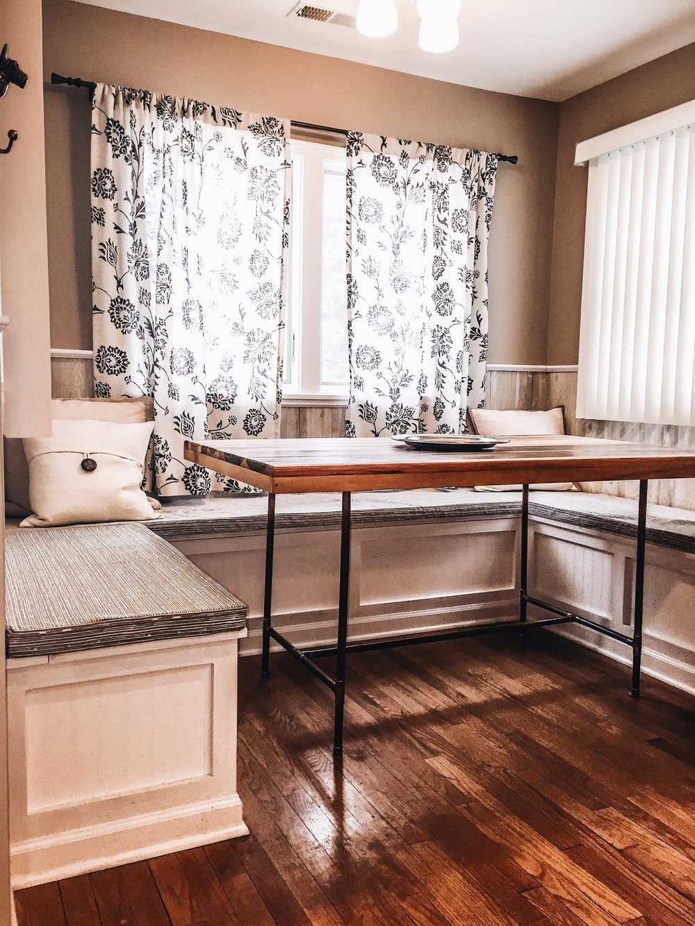 DIY Breakfast Nook with under cabinet storage option - First Thyme Mom