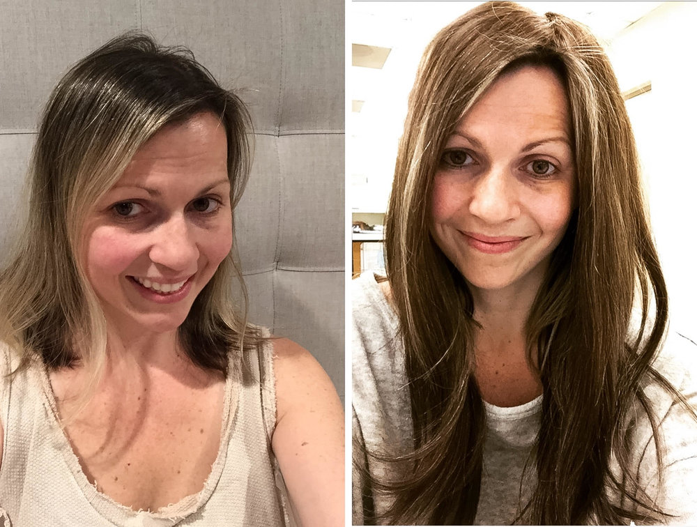 Tressmerize Hair Topper Before and After. Solutions for postpartum hair loss.