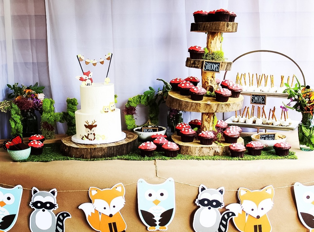 Woodland Themed Dessert Table for Birthday or Shower