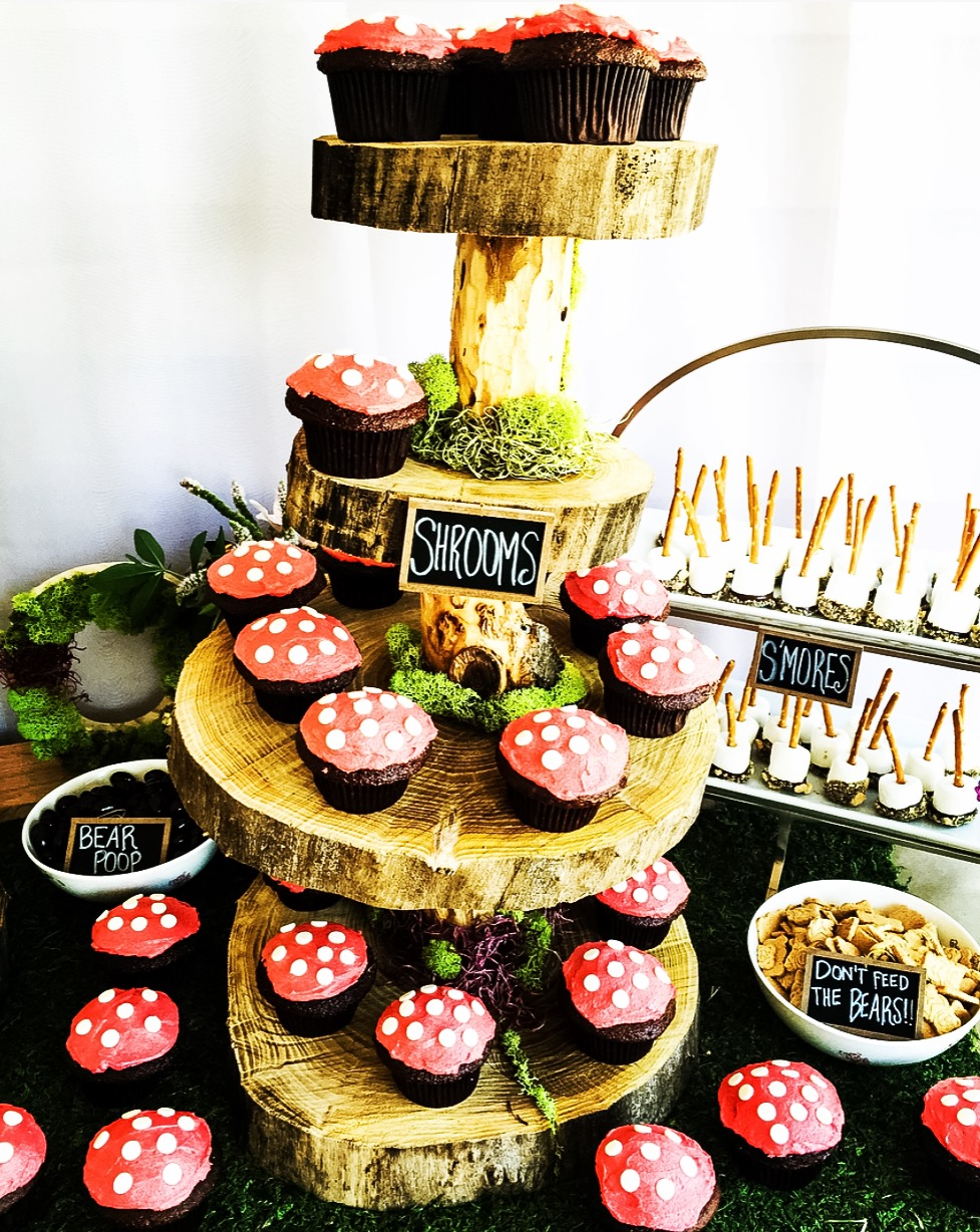 Mushroom cupcake tree trunk dessert display