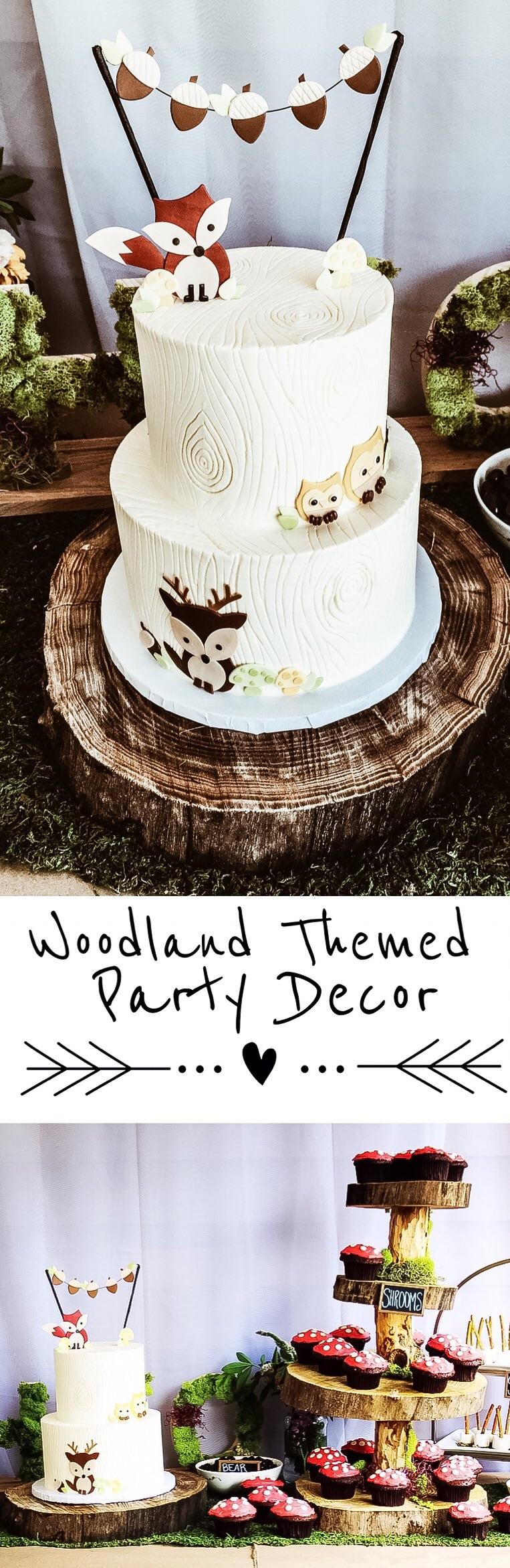 Woodland animal themed party decor.
