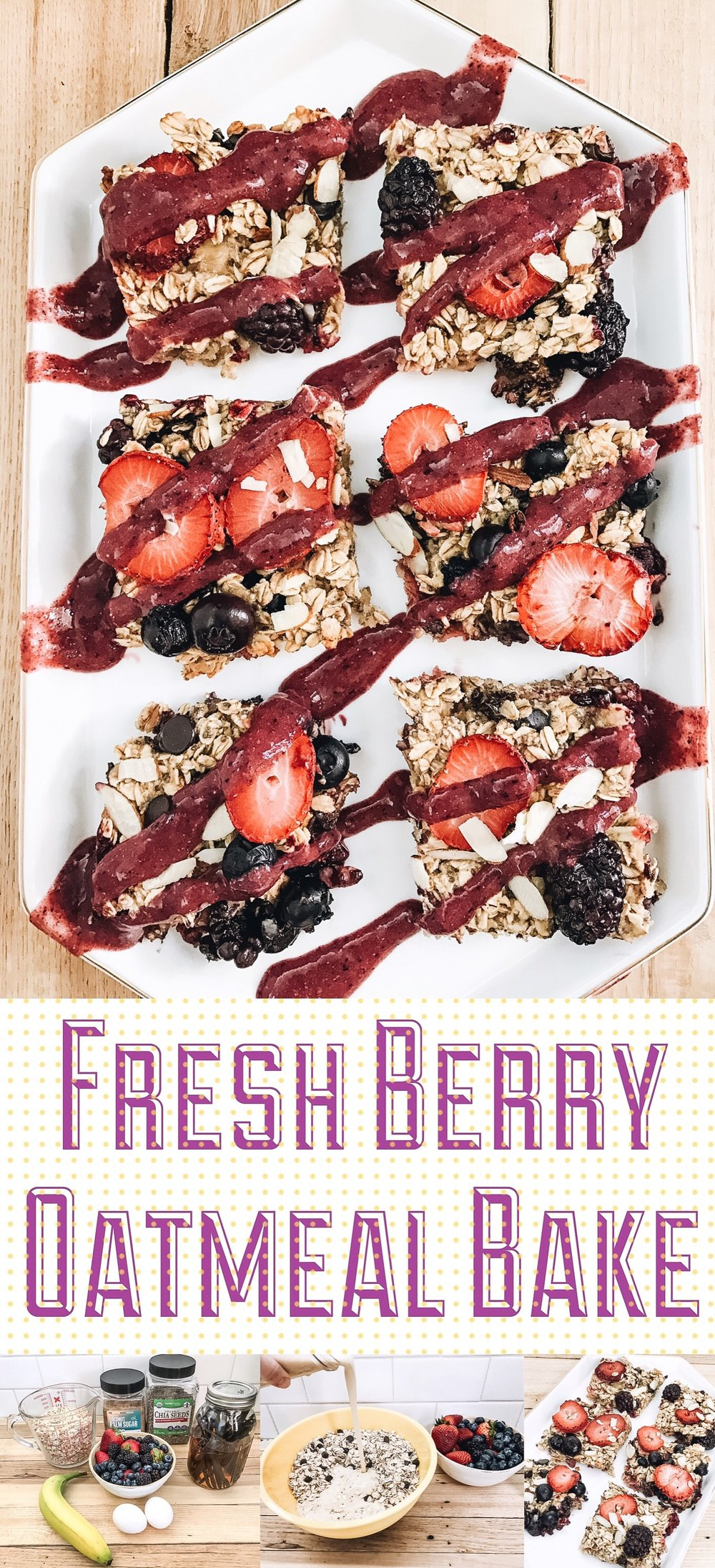 Fresh Berry Oatmeal Bake with Chocolate Chips. Perfect for Brunch!