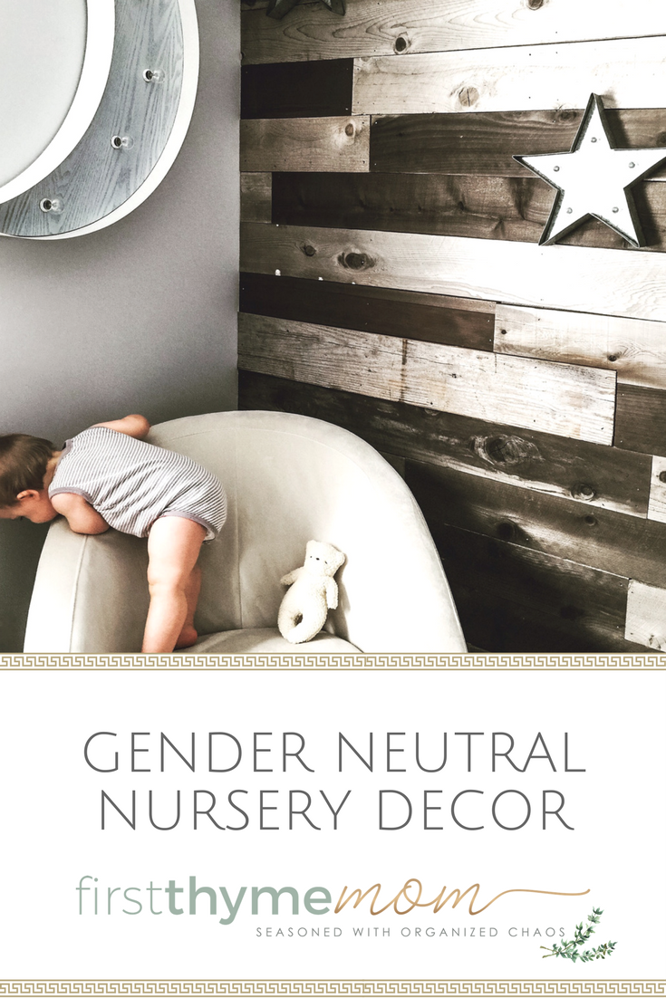 Designing a gender neutral nursery for your new baby. Wooden walls for nurseries.