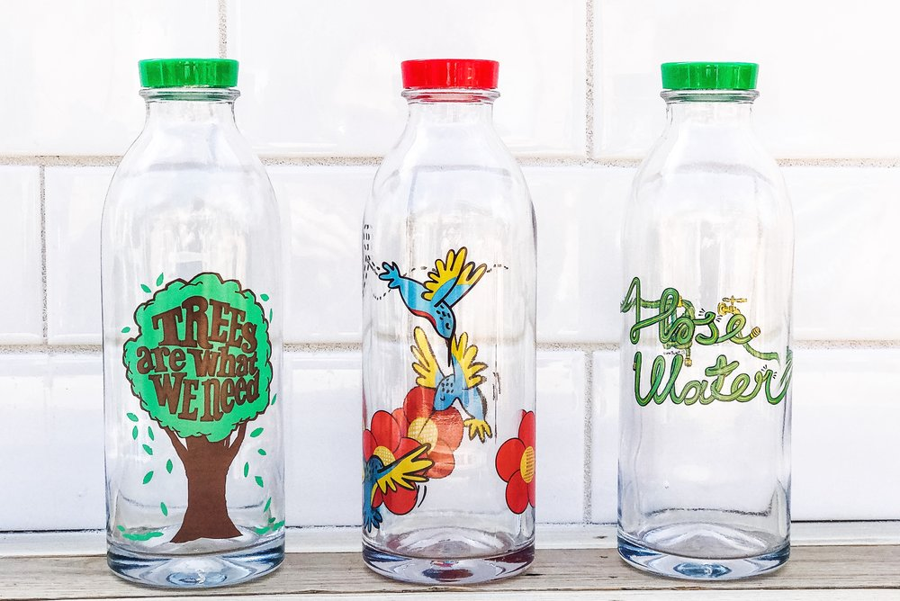 Faucet Face Reusable Glass Water Bottles. Make Earth Day Every Day!