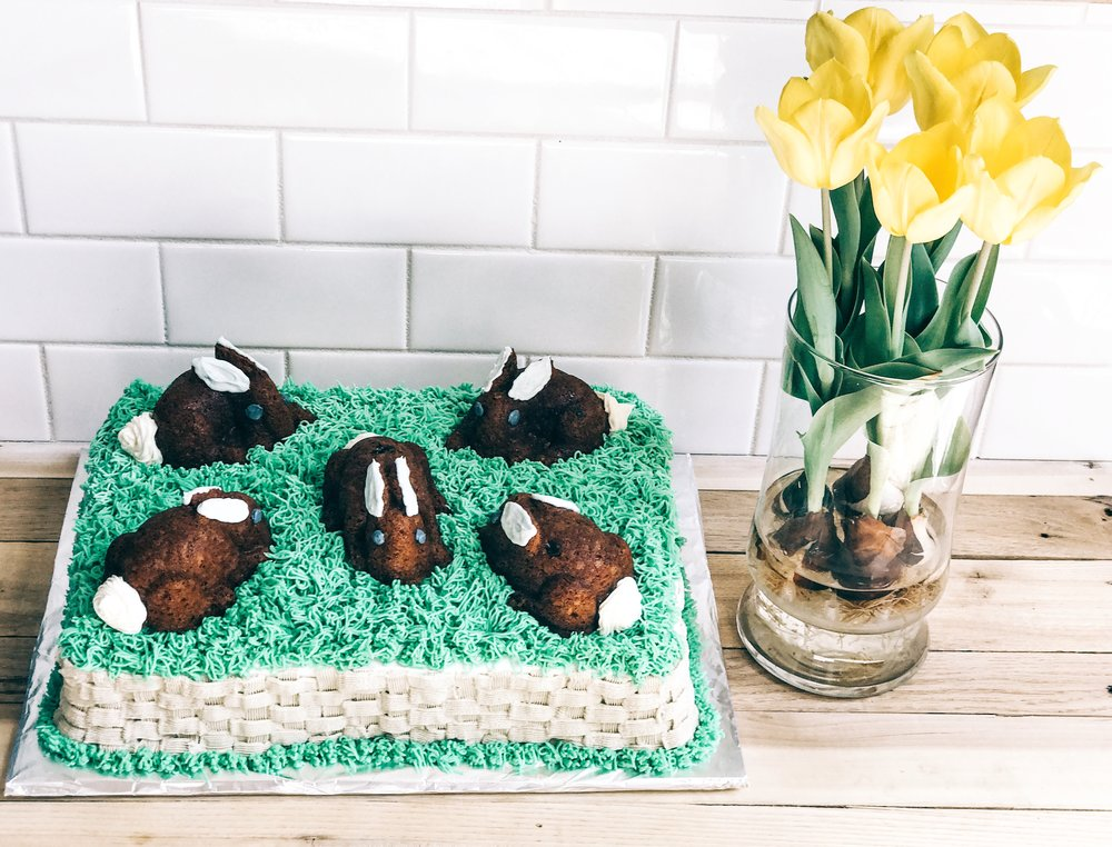 The Best Easter Bunny Cake you will every see! Made using Nordic Ware Bunny cake pans.