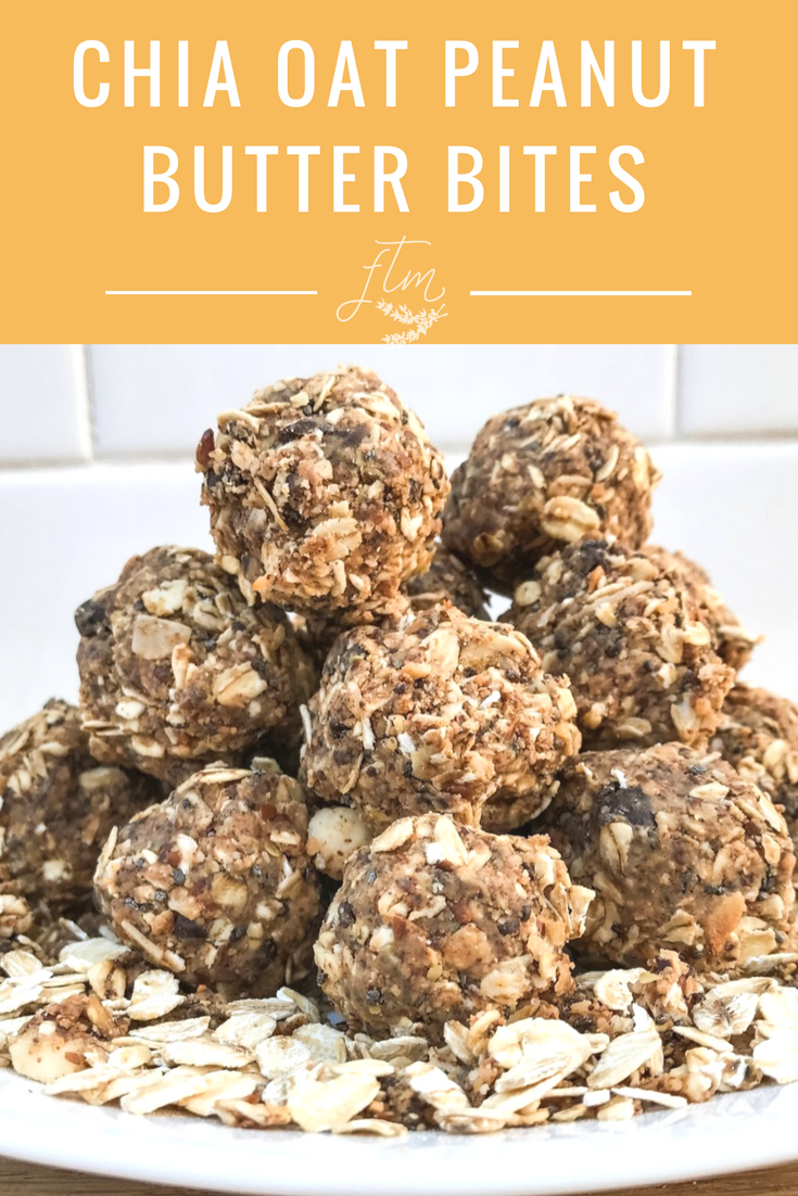Recipe for Chia Oat Peanut Butter Bites. Protein packed, no bake oatmeal bites with peanut butter.