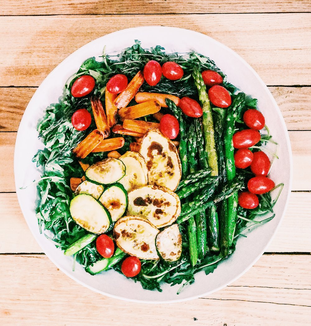 Pan-seared vegetable spinach salad recipe.