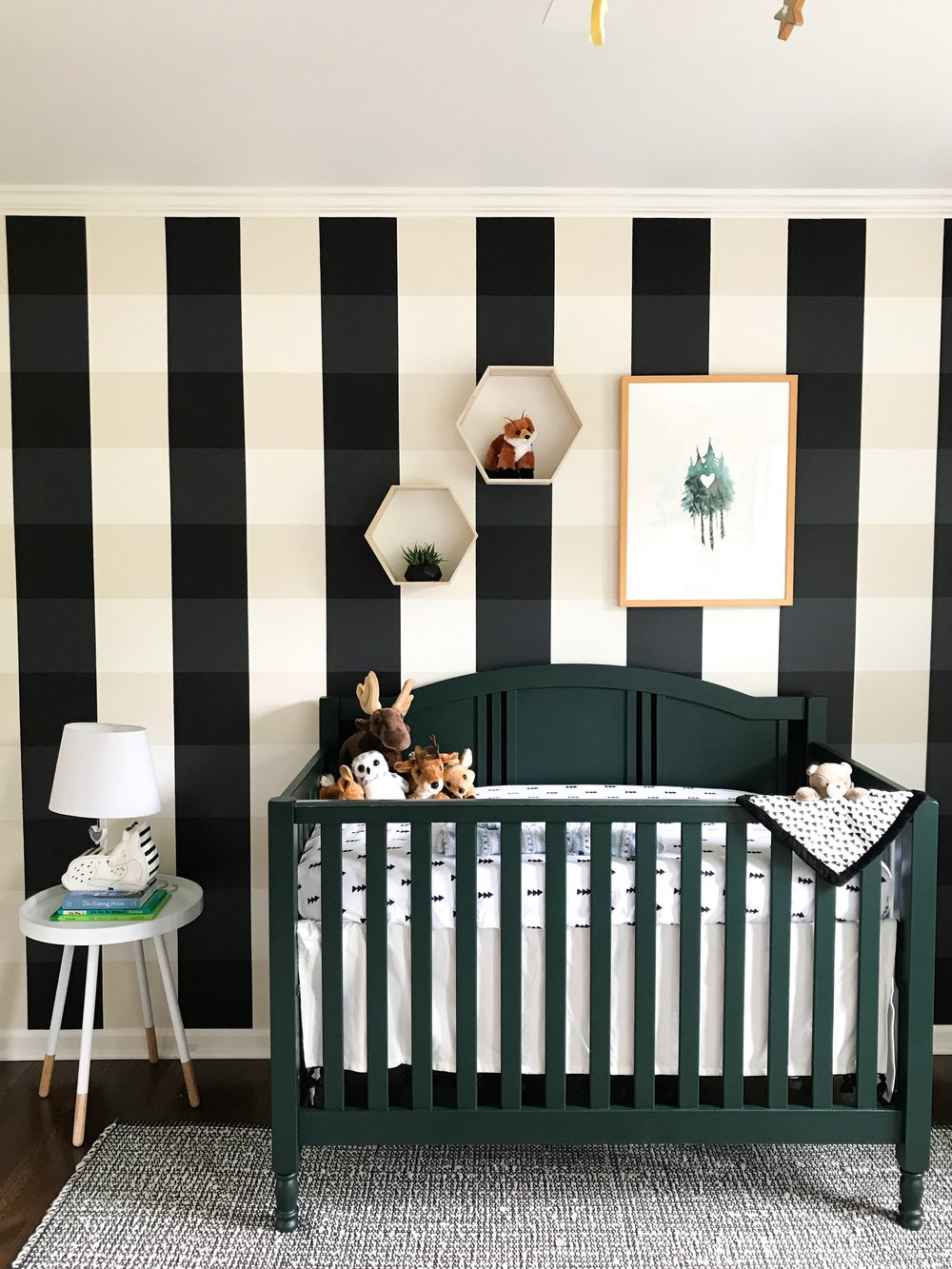 Buffalo Plaid Nursery Wall Using Benjamin Moore Paint. Lumber Jack, Outdoor, Adventure, Northwoods, Woodland Animal Nursery Decor and Design Ideas.