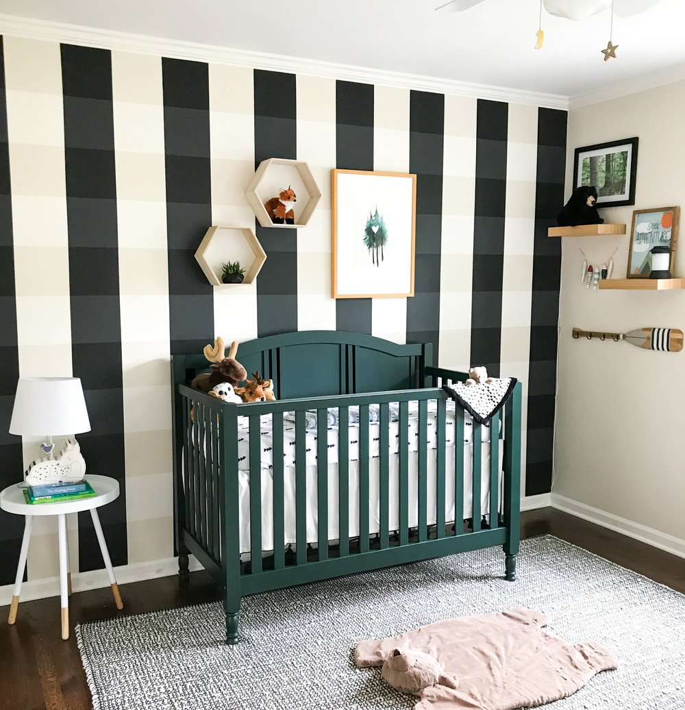 Woodland Creatures Nursery Decor For Baby Boy Or Girl. Outdoor nursery decor, gender neutral. Buffalo Plaid painted nursery wall. Simple, neutral, nursery design.