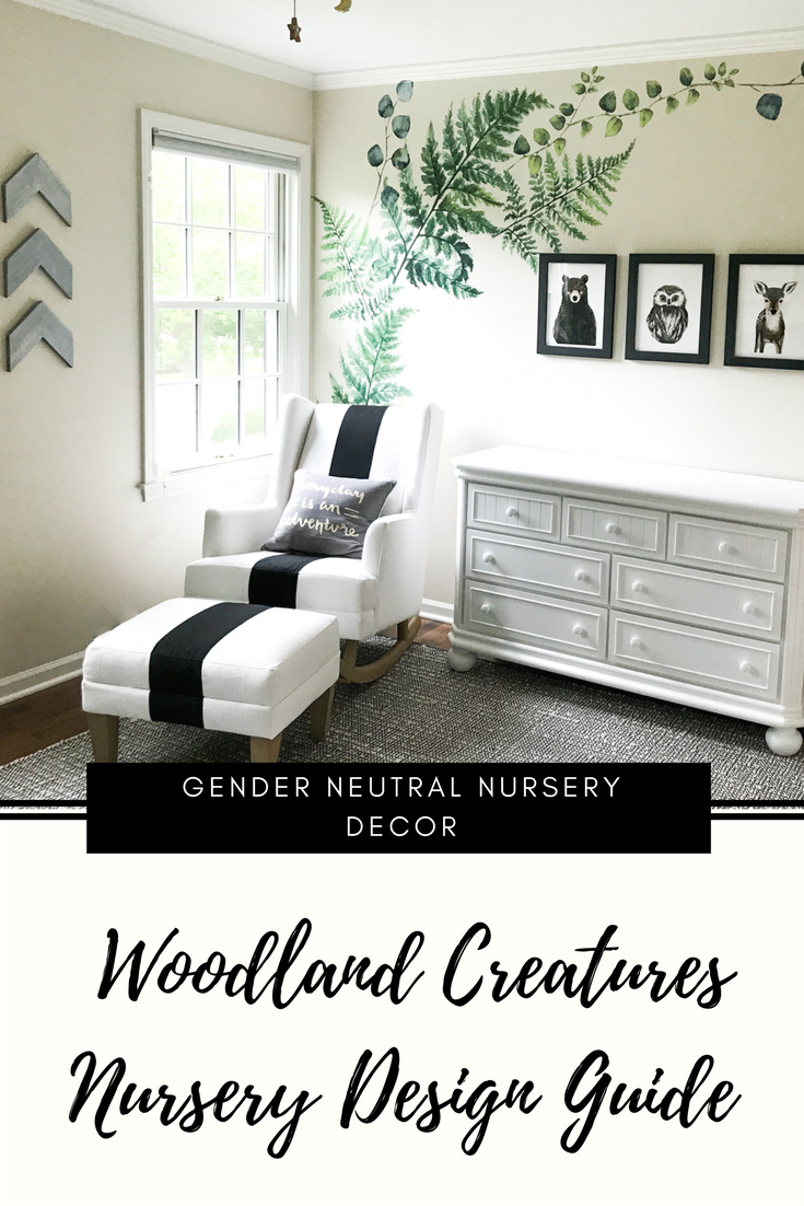 Woodland Creatures Nursery Decor For Baby Boy Or Girl. Buffalo Plaid Nursery Wall Paint. Black and white gender neutral nursery design. Outdoor animal themed simple nursery for baby.