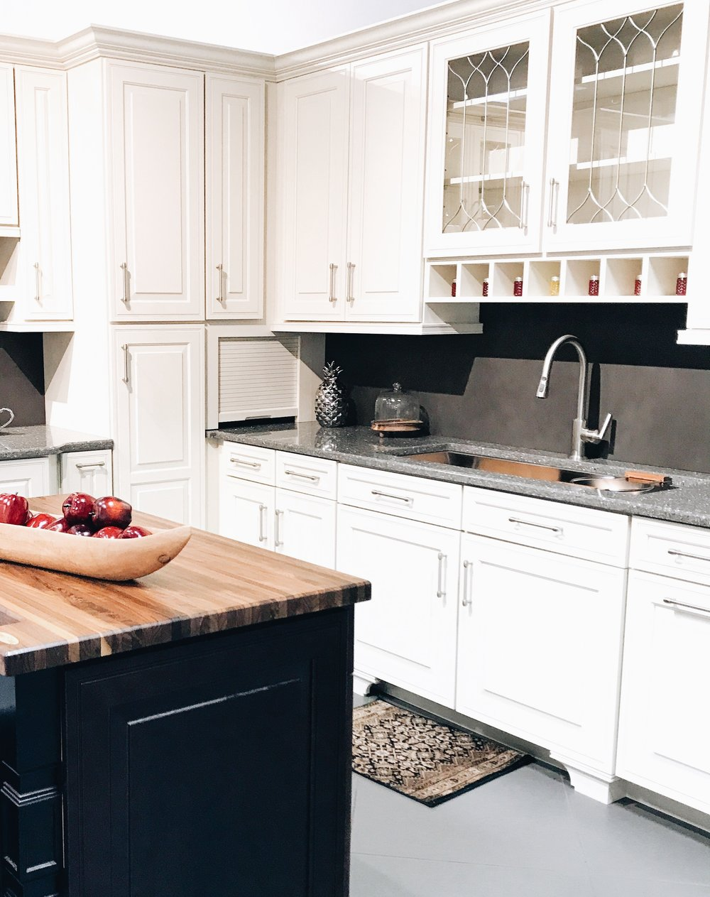 How To Choose and Select Kitchen Cabinets For Your Home - First Thyme Mom. Dark Island With White Cabinets