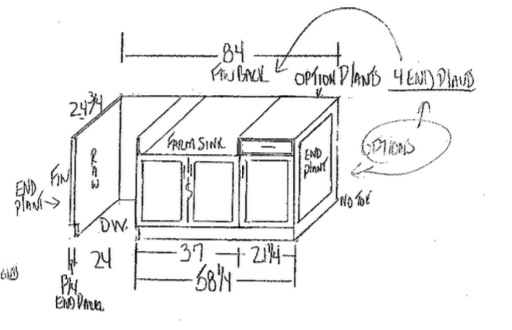 How To Choose and Select Kitchen Cabinets For Your Home - Kitchen Island Sketch