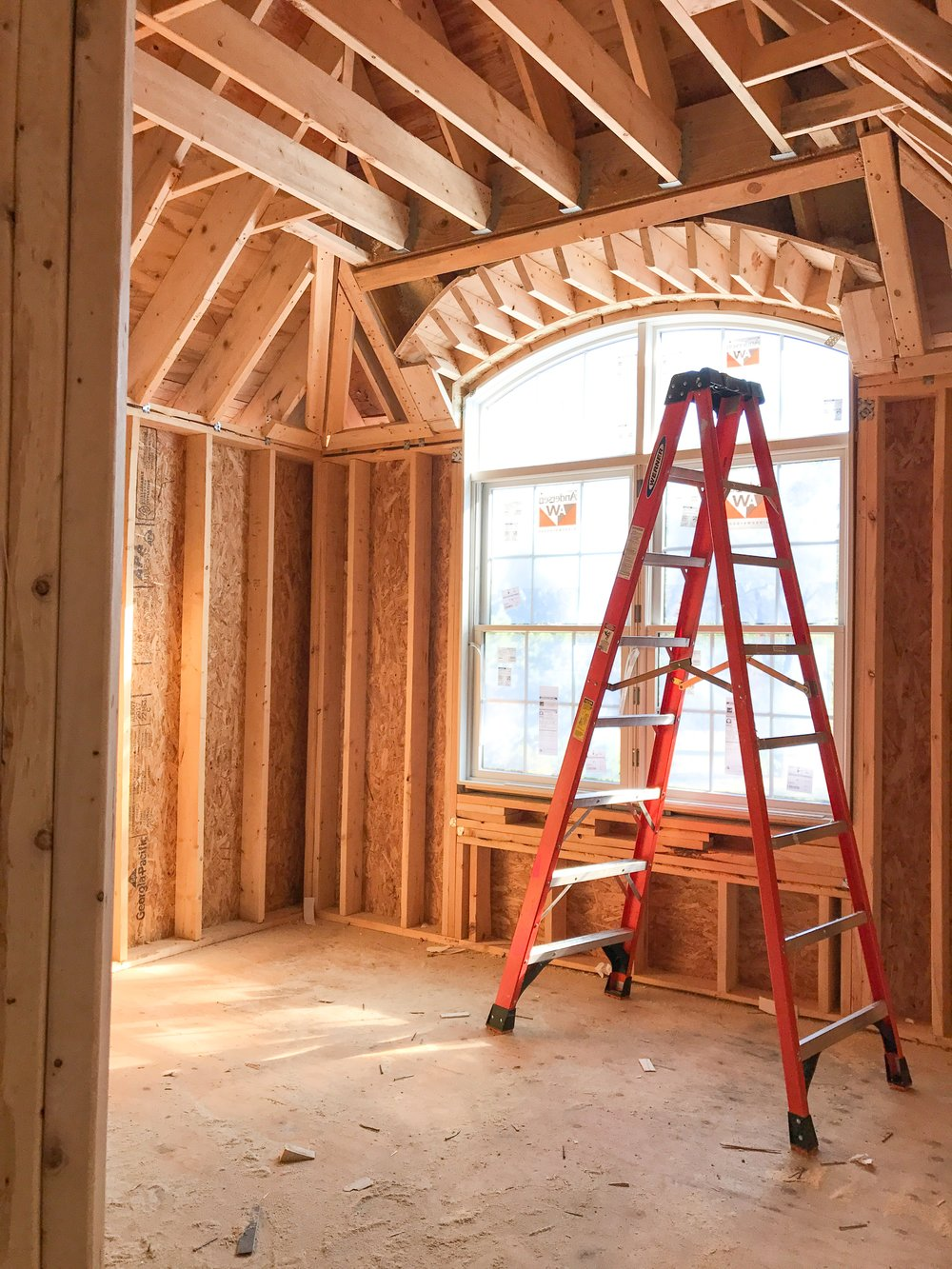 New Construction Rough Framing - Arched Window in French Provincial Country Style Home