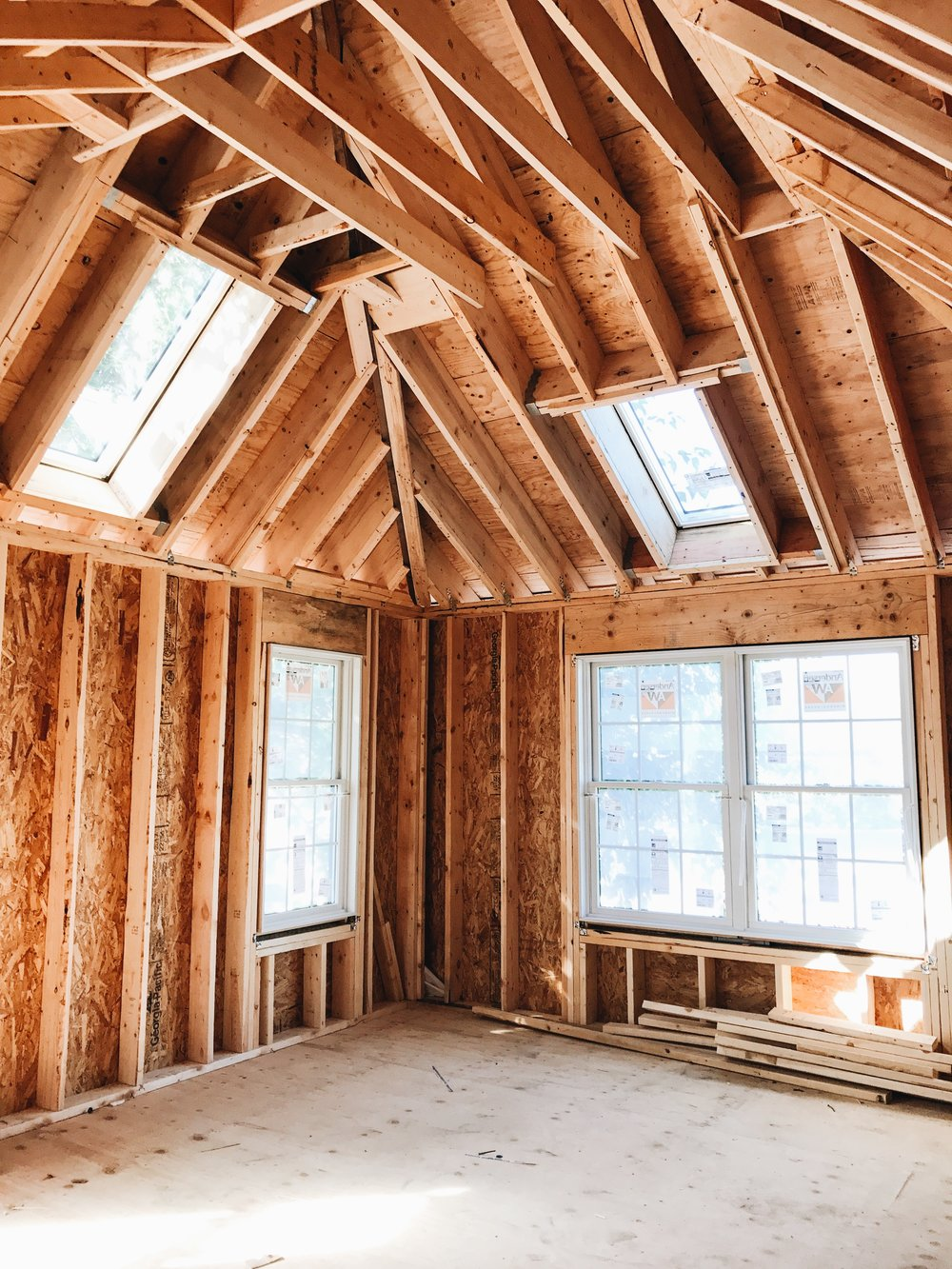 New Construction Rough Framing - Skylights in French Provincial Country Style Home