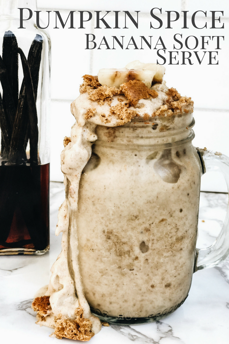 Pumpkin Spice Banana Soft Serve Ice Cream. Fall Ice Cream Recipes. Pumpkin Spice Homemade Ice Cream Recipe.