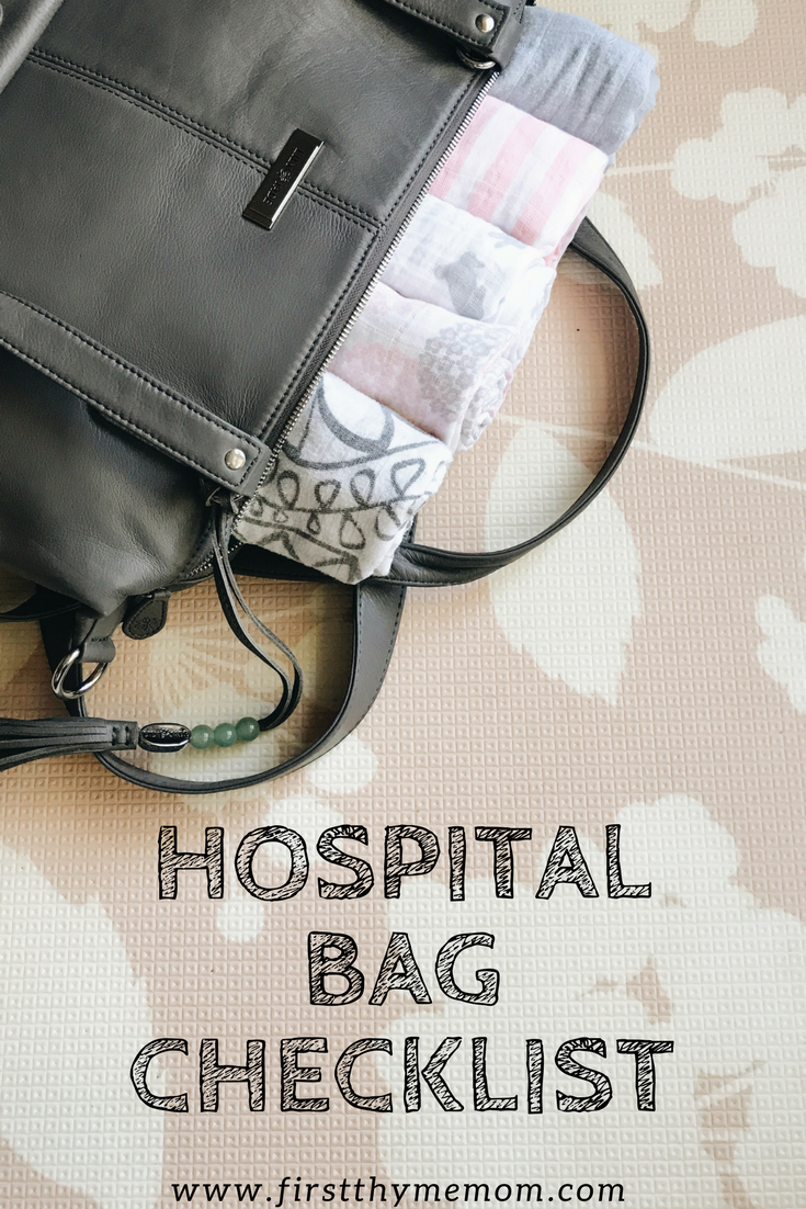 Must-have list of items for your hospital bag. Have these things packed a few weeks before your due date. Hospital pajamas, slippers, toiletries, muslin swaddles, going home outfit, lip balm, nursing tanks and bras, and chargers.