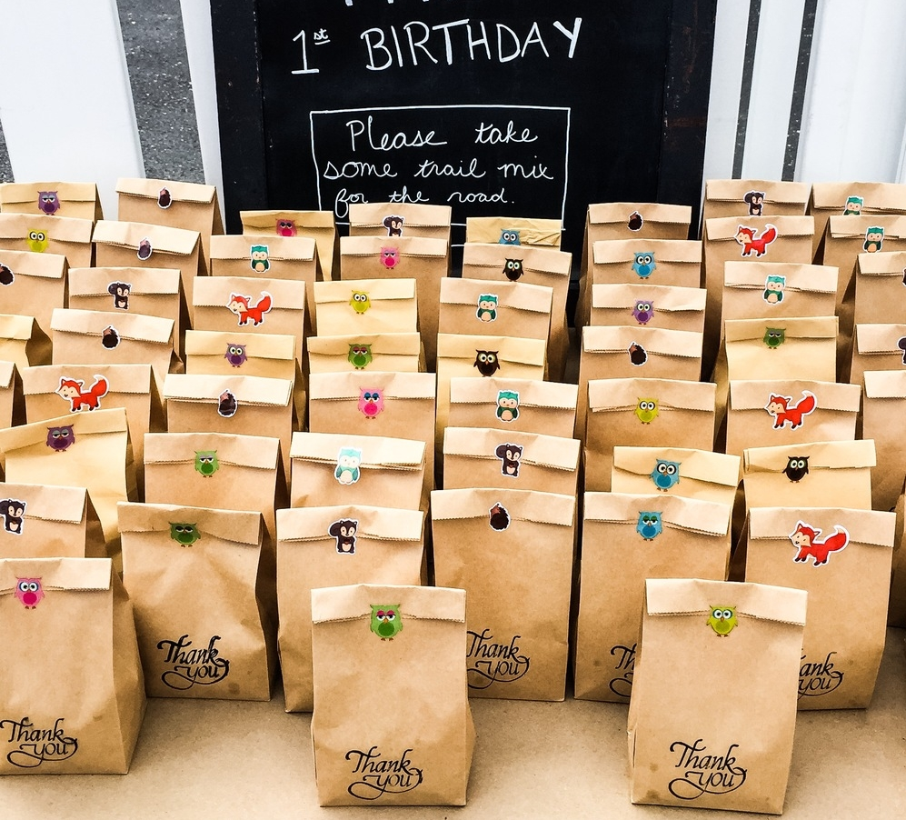 Our doors themed treat bags for woodland themed birthday party