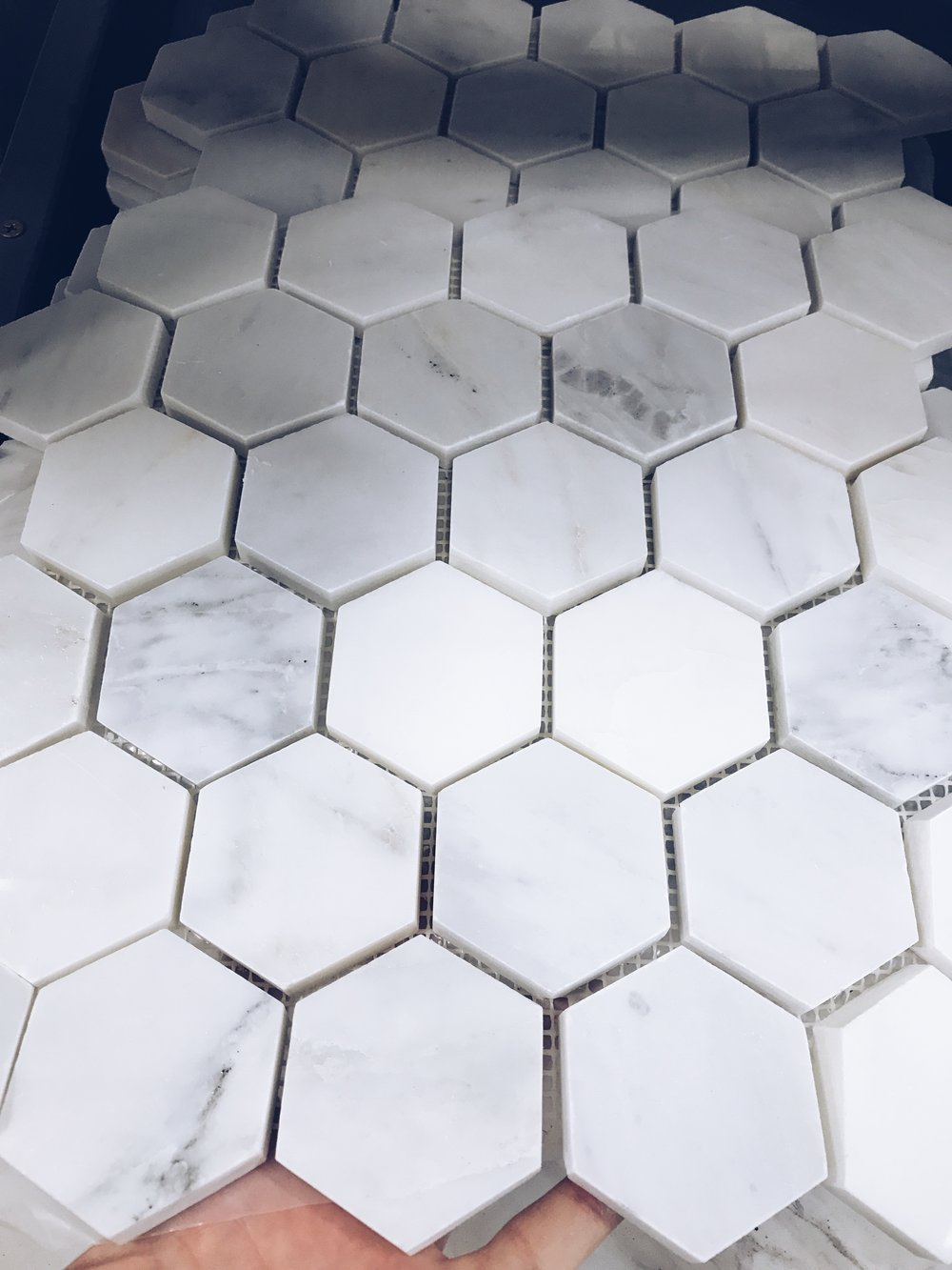Hexagon Floor Tile in 2 inch pieces.