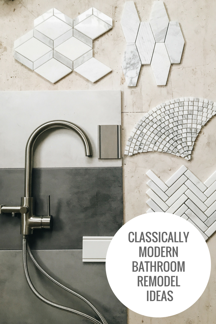Classically Modern Bathroom Remodel Ideas. Tile and plumbing fixture ideas for bathroom remodel. Grey and white tile ideas for a bathroom. #masterbathroom #masterbath #showertile #bathfixtures