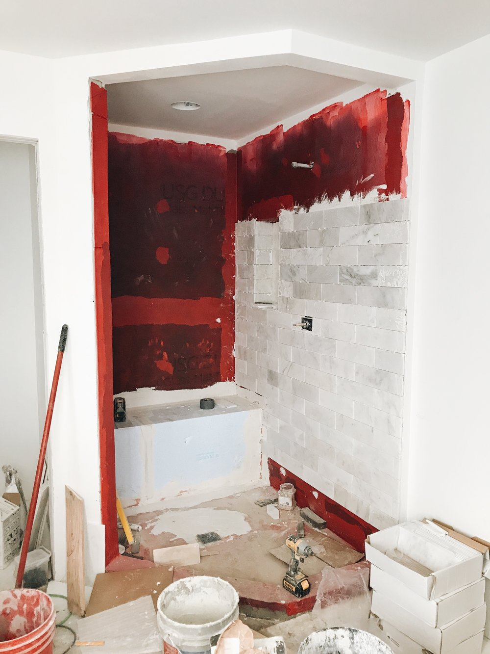 Designing A Master Bath. Bathroom remodeling ideas. Modern bathroom design. New bathroom construction. Master bathroom freestanding tub and marble shower ideas. #wetstyle #sponsored #newconstruction #modern #master #bathroom