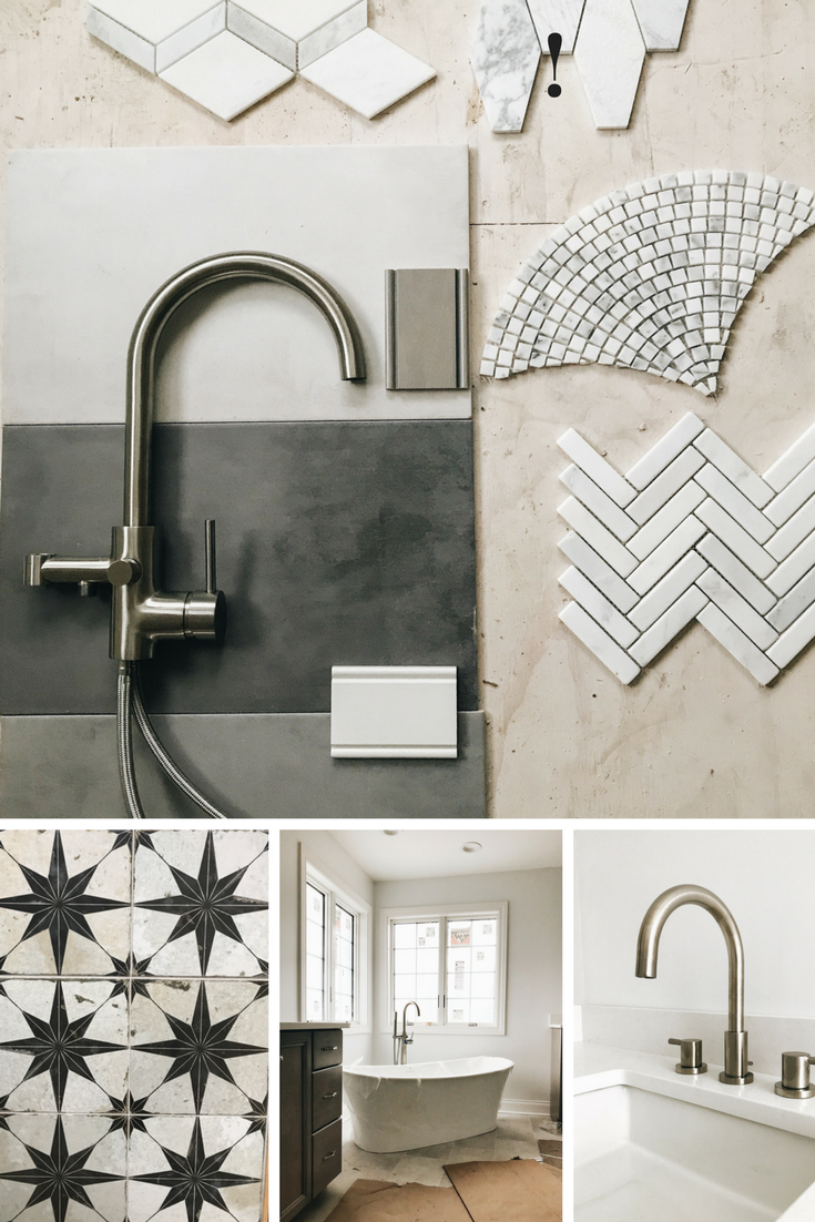 DIY Bathroom Design Ideas. Home Decor Ideas and Inspiration. Designing a master bath. Tile and faucets for a bathroom. How to create a modern bathroom. Star tile, polished nickel faucets, mosaic tile. Freestanding bathtubs.