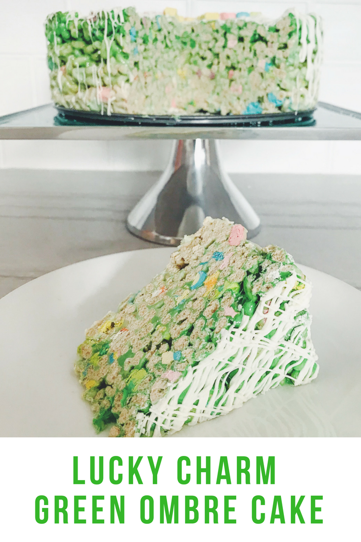 Lucky Charm Green Ombre Cake For St. Patrick's Day #stpatricksday #greendessert