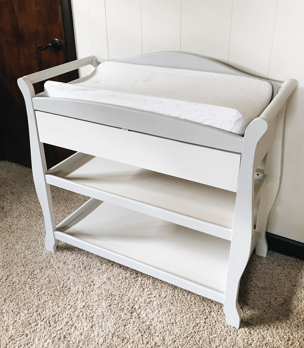 DIY Changing Table Makeover. How to update a hand-me-down changing table.